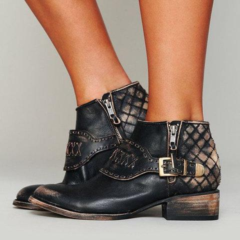 Vintage Ankle Boots Adjustable Buckle Pu Booties
