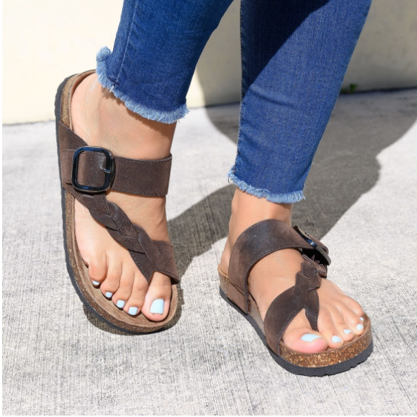 2020 New And Fashional Woman Braided Toe Ring Footbed Sandals