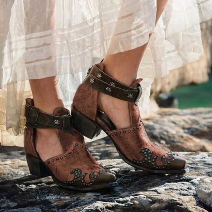 Vintage Block Heel Rivet Buckle Strap Sandals