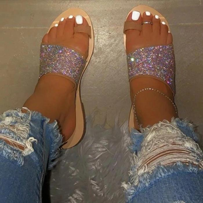 Women Toe Ring Rhinestone Slip-on Sandal