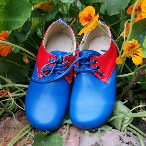UNISEX BLOCK COLOR SUMMER LOW HEEL PU FLATS LACE UP COMFY SHOES