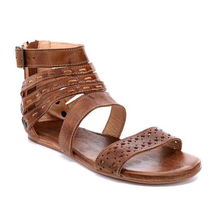 Women'S Vintage Artificial Leather Adjustable Buckle Sandals