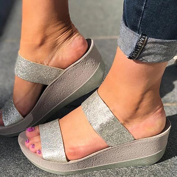 Casual Wedge Slip-On Peep Toe Women Sandals