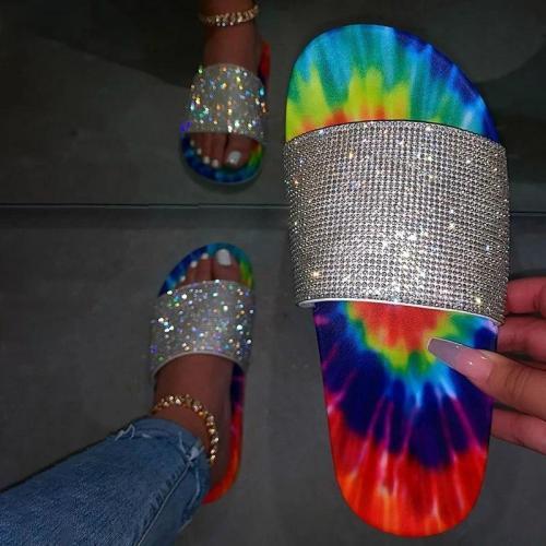 Slip-On Flip Flop Flat With Rhinestone Summer Slippers
