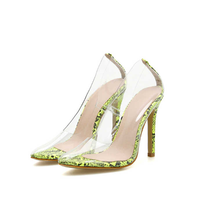 Women Transparent Pumps Pointed Toe Thin High Heels Clear PVC Sandals