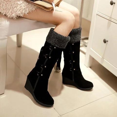 Womens Fashion Lace Round Toe Scrub High Heel Snow Boots