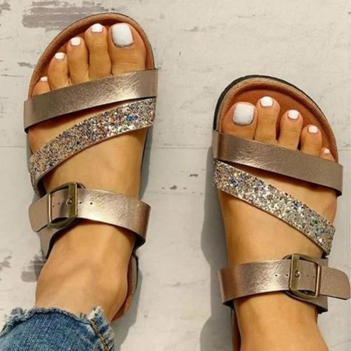 Women Fashion Paillette Open Toe Buckle Strap Sandals