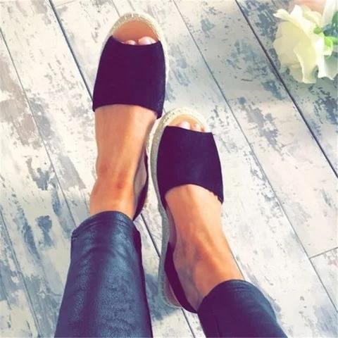 Large Size Women Summer Espadrilles Fashion Peep Toe Flat Heel Sandals