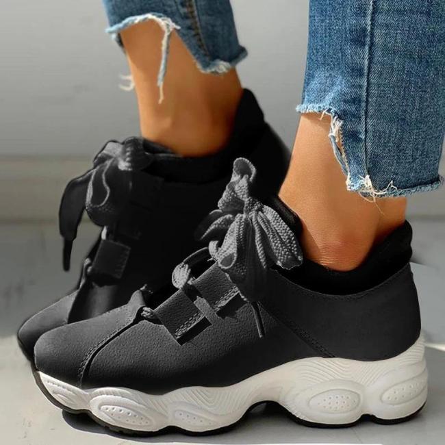 Women Athletic Hit Color Lace-up Platform Sneakers
