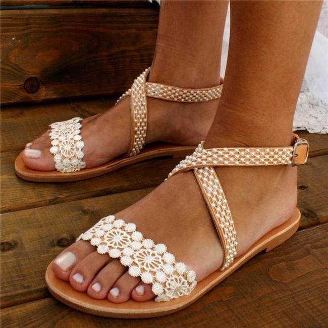 Women's Wedding Pearl Lace Open Toe Buckle Strap Flat Heel Sandals