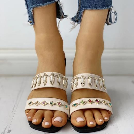 2020 New And Fashional Women Summer Beach Rhinestone Flat Sandals
