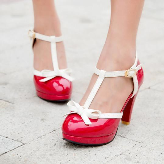 Color Block Chunky High Heeled Round Toe Date Travel Platform Heels