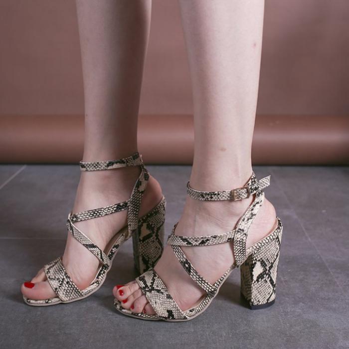Snake Skin Pattern Sexy Women Sandals Female Super Hight Heel Shoes