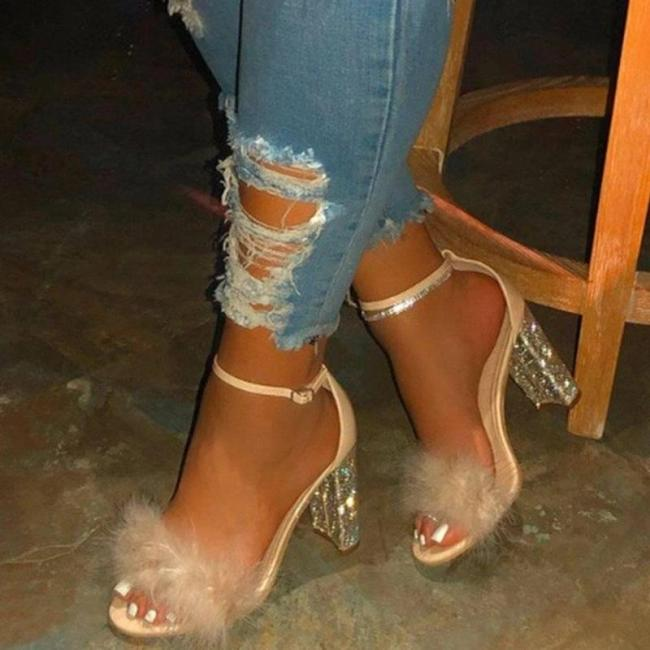Heel Covering Open Toe Chunky Heel Line-Style Buckle Feather Sandals