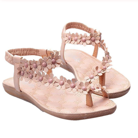 Summer Bohemia Sweet Beaded Sandals Clip Toe Sandals Beach Shoes
