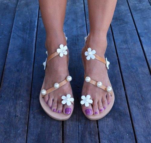 Women Boho Sandals Casual Flower Plus Size Shoes