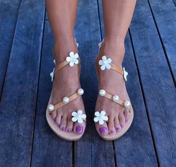 Women Boho Sandals Casual Flower Plus Size Shoes