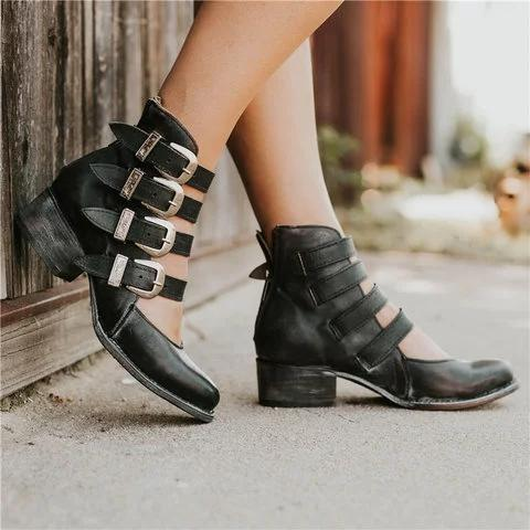 Back-zip Heel Sandals Retro Style Low Heel Sandals