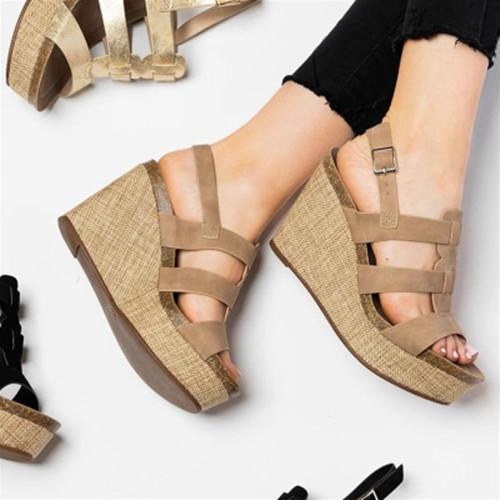 Summer Wedge Slip-On Peep Toe Sandals