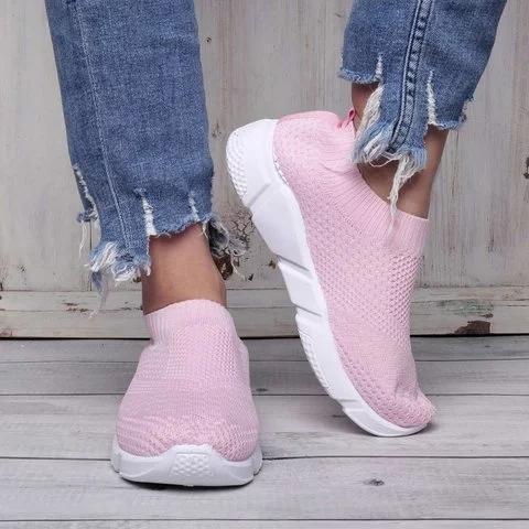 Breathable Elastic Cloth Sneakers Platform Slip On Sneakers