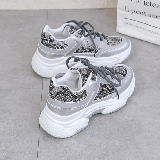 2020 New Woman Snakeskin Pattern Chunky Sneakers