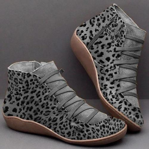 Leopard print Crisscross Lace-Up Low Wedges Ankle Booties
