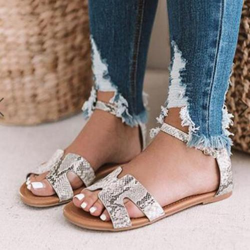 Women Flat Peep Toe Casual Date Flat Sandals