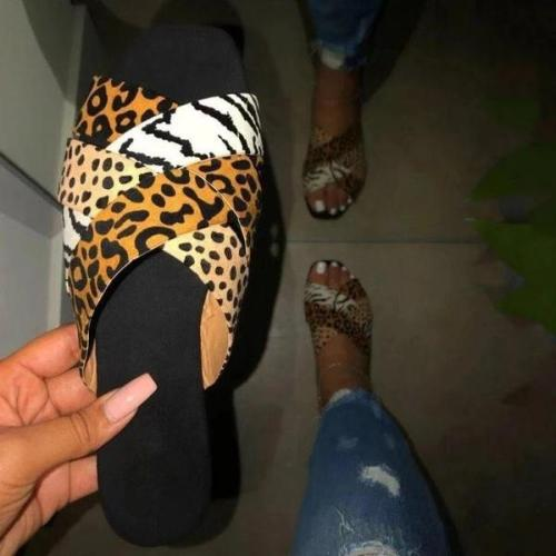 Flat With Slip-On Flip Flop Leopard PVC Slippers