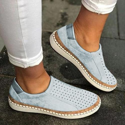 Women Casual Slip-On Solid Color Sneakers