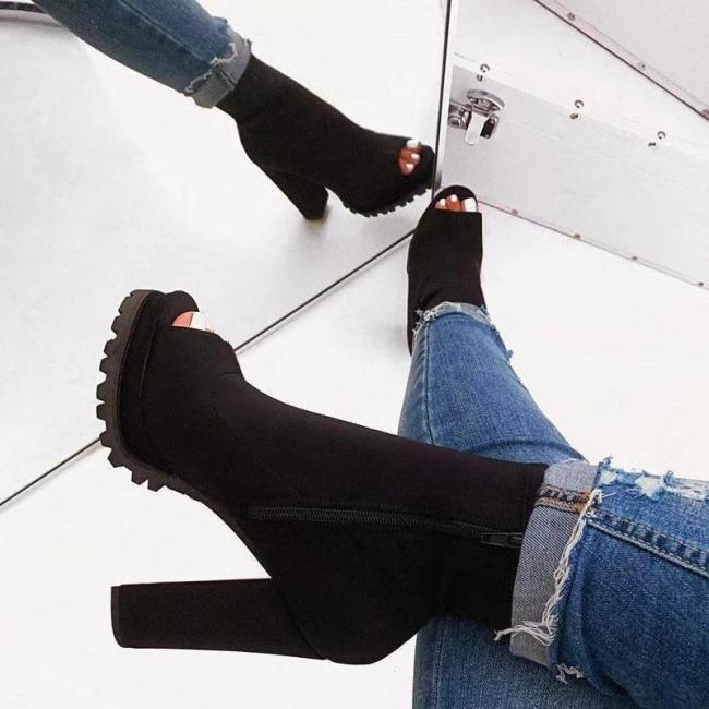 Peep Toe Side Zipper Chunky Heel PU Boots