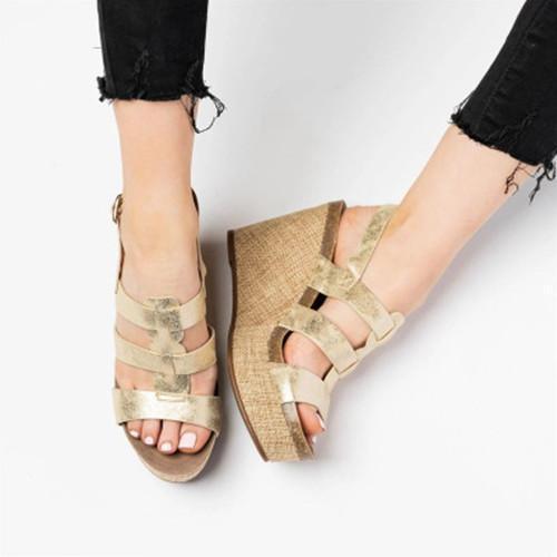 Summer Wedge Slip-On Peep Toe Sandals