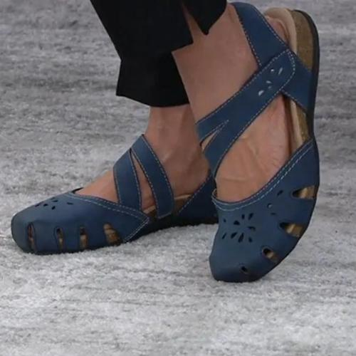 Low Heel Artificial Leather Magic Tape Summer Sandals