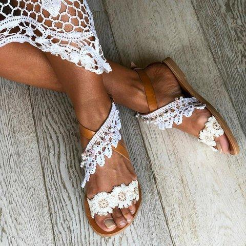 White Flat Heel Holiday Summer Sandals