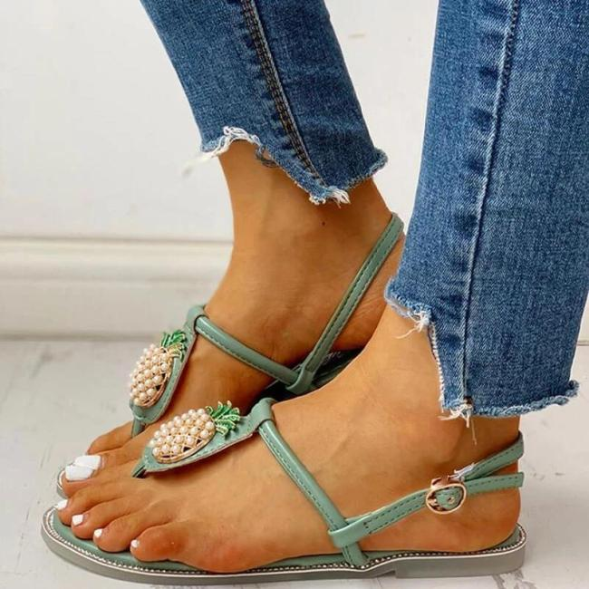 Women Rhinestones Pearl Pineapple Thongs Buckle Strap Flat Heel Sandals
