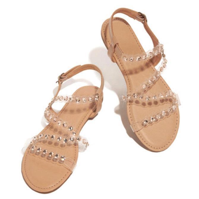 Pi Clue Summer Leather Flat Heel Sandals