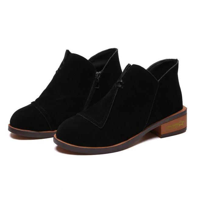 Ankle Solid Rounded Toe Short Boots Single Shoes Elasticated Tab Low Block Flat Heel
