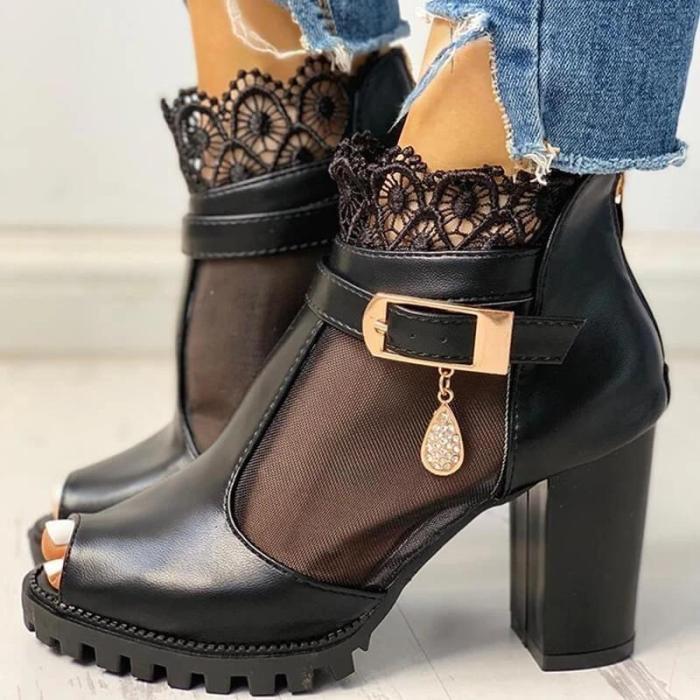Women Fashion Lace Mesh Peep Toe Chunky Sandals Boots