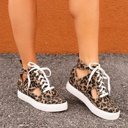 Leopard Date All Season Block Heel Sneakers