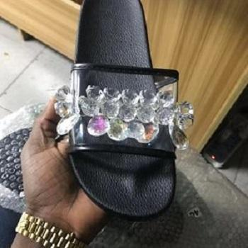 Women's Open Toe Slippers Flat Light Imitation Rhinestone Shoes