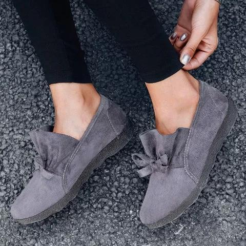 Women's Flat Shoes Round Toe Casual Bowknot Non-slip Flats
