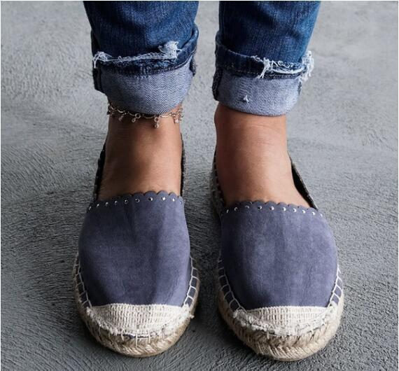 Straw Flax Canvas Shoes Women Daily Walking Flat Loafers