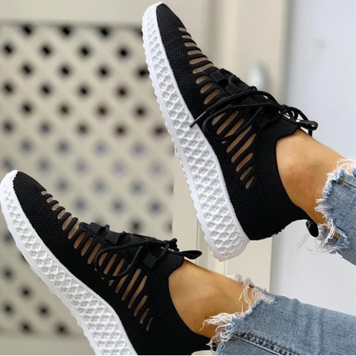 2020 New And Fashional Women's Net Surface Breathable Lace-Up Hollow Out Sneakers