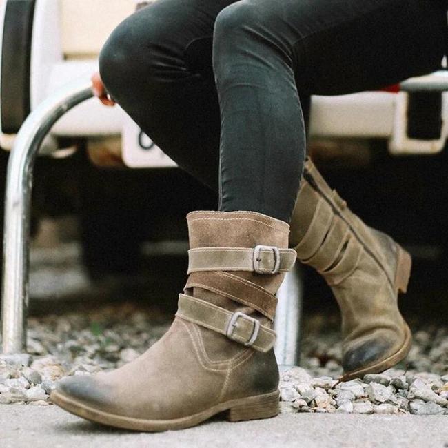 Women'S Vintage Mid-Calf Boots Zipper Booties With Adjustable Buckle