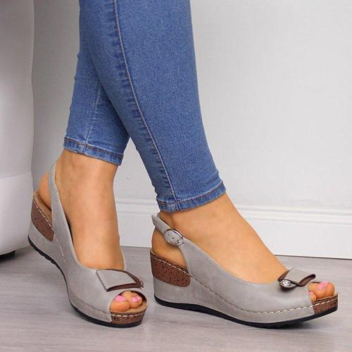 Women Peep Toe Buckle Strap Wedge Sandals