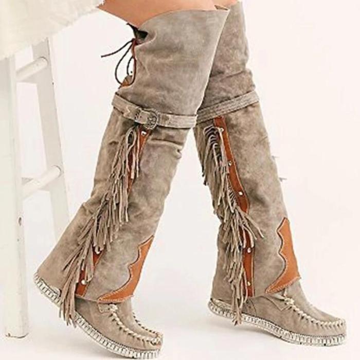Flat Heel PU Winter Boots