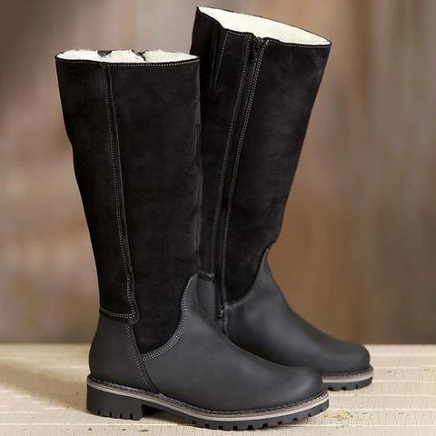Women Zipper Mid-Calf Fur Warm Snow Boots