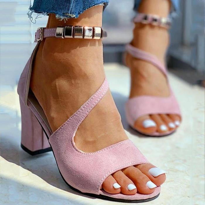 Women Summer Metal Ankle Strap Open Toe Buckle Chunky Heel Sandals