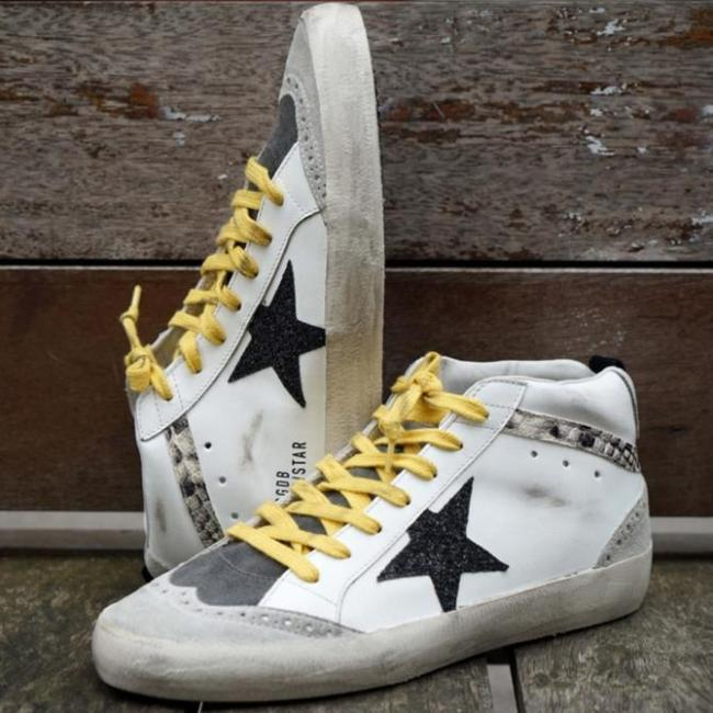 White Lace Up Suede Sneakers