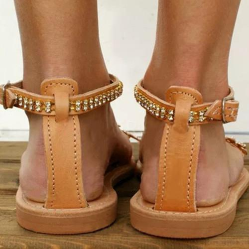 Women Adjustable Buckle Low Flat Heel Sandals