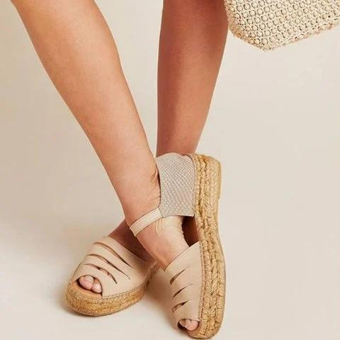 Beige Low Heel Leather Date Sandals